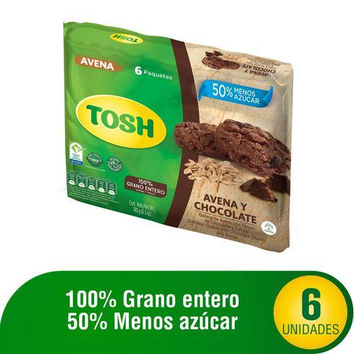 GALLETA AVENA CHOCOLATE TOSH 180 Gramo