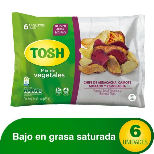 PASABOCAS MIX VEGETALES TOSH 168 Gramo