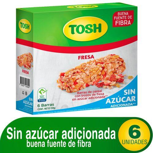 BARRA DE CEREAL FRESA SIN AZUCAR TOSH 138 Gramo