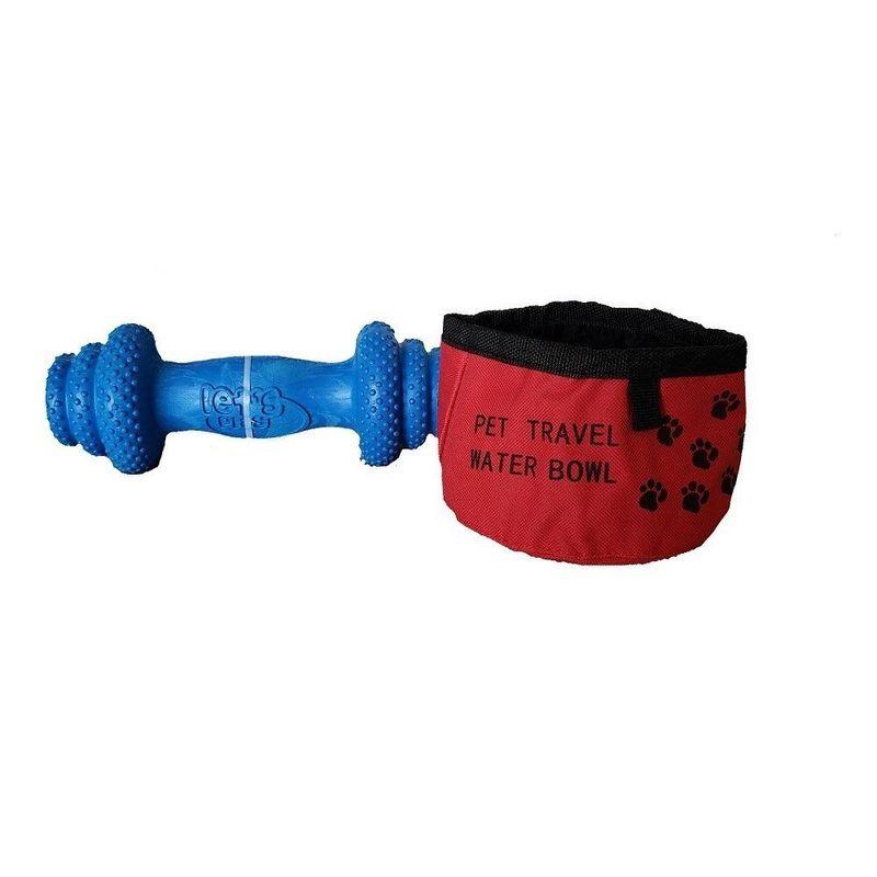Juguete para perro tipo pesa + recipiente