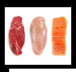 Pollo, carne y pescado